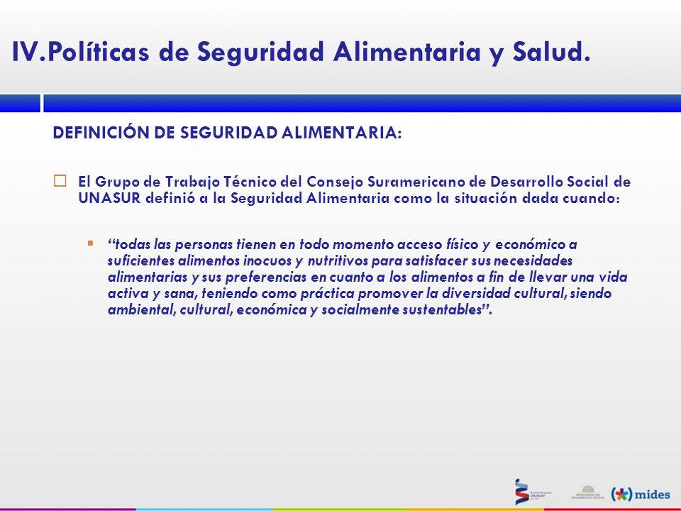 DEFINICIÓN DE SEGURIDAD ALIMENTARIA: El Grupo de Trabajo Técnico del Consejo Suramericano de Desarrollo Social de UNASUR definió a la Seguridad Alimen