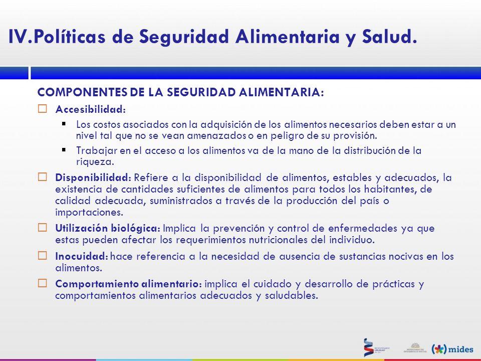 COMPONENTES DE LA SEGURIDAD ALIMENTARIA: Accesibilidad: Los costos asociados con la adquisición de los alimentos necesarios deben estar a un nivel tal