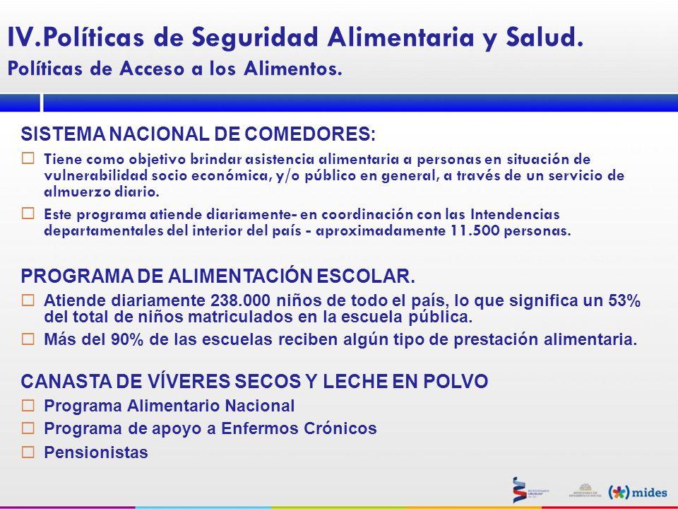 SISTEMA NACIONAL DE COMEDORES: Tiene como objetivo brindar asistencia alimentaria a personas en situación de vulnerabilidad socio económica, y/o públi