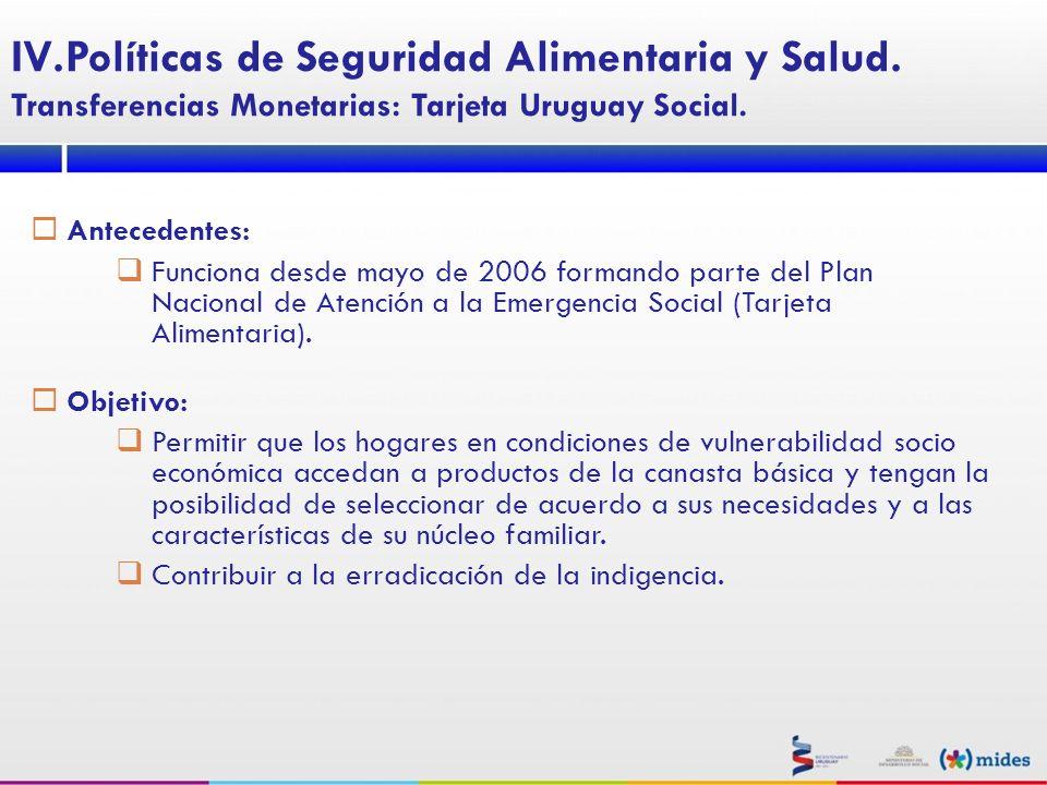 Antecedentes: Funciona desde mayo de 2006 formando parte del Plan Nacional de Atención a la Emergencia Social (Tarjeta Alimentaria). Objetivo: Permiti