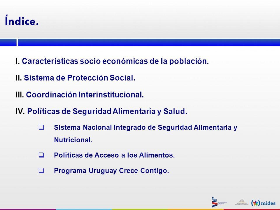 Índice. I. Características socio económicas de la población. II. Sistema de Protección Social. III. Coordinación Interinstitucional. IV. Políticas de