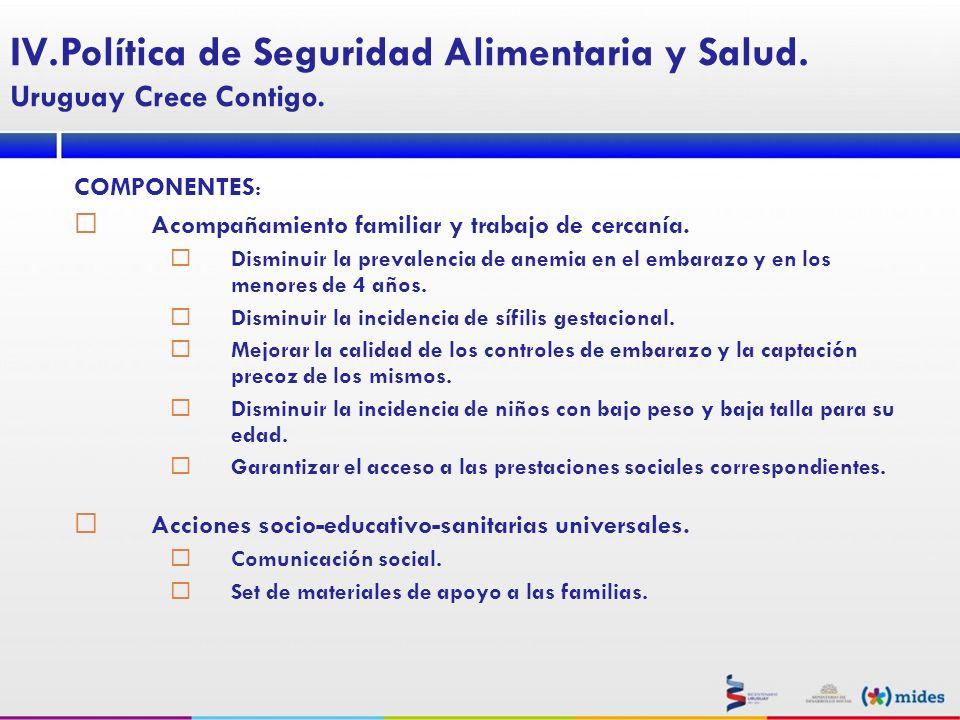 COMPONENTES : Acompañamiento familiar y trabajo de cercanía. Disminuir la prevalencia de anemia en el embarazo y en los menores de 4 años. Disminuir l