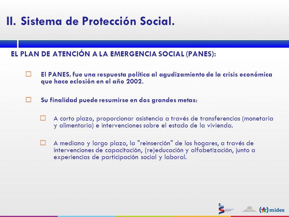 EL PLAN DE ATENCIÓN A LA EMERGENCIA SOCIAL (PANES): El PANES, fue una respuesta política al agudizamiento de la crisis económica que hace eclosión en