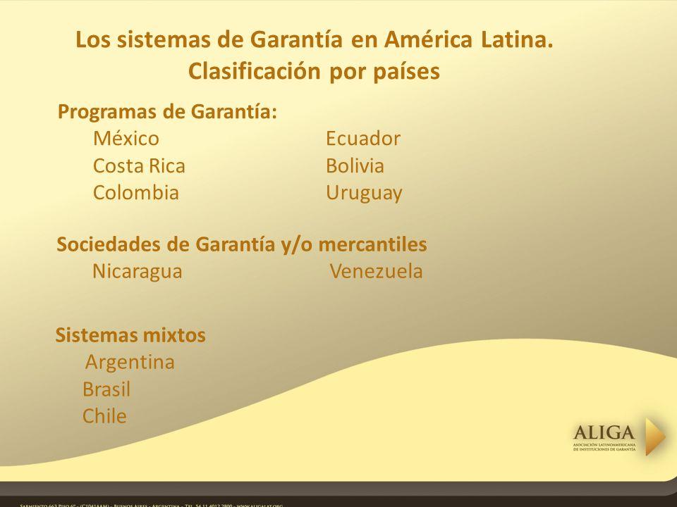 Sociedades de Garantía y/o mercantiles Nicaragua Venezuela Los sistemas de Garantía en América Latina.
