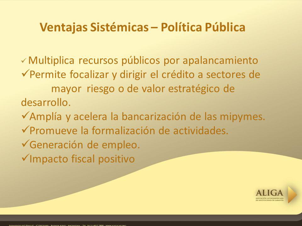 Multiplica recursos públicos por apalancamiento Permite focalizar y dirigir el crédito a sectores de mayor riesgo o de valor estratégico de desarrollo.