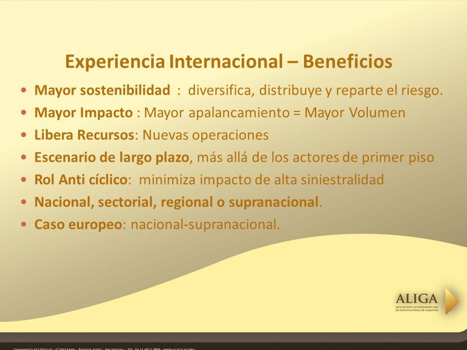 Experiencia Internacional – Beneficios Mayor sostenibilidad : diversifica, distribuye y reparte el riesgo.