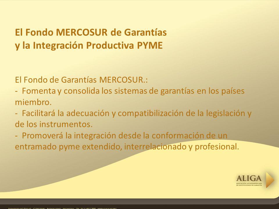 El Fondo MERCOSUR de Garantías y la Integración Productiva PYME El Fondo de Garantías MERCOSUR.: - Fomenta y consolida los sistemas de garantías en los países miembro.