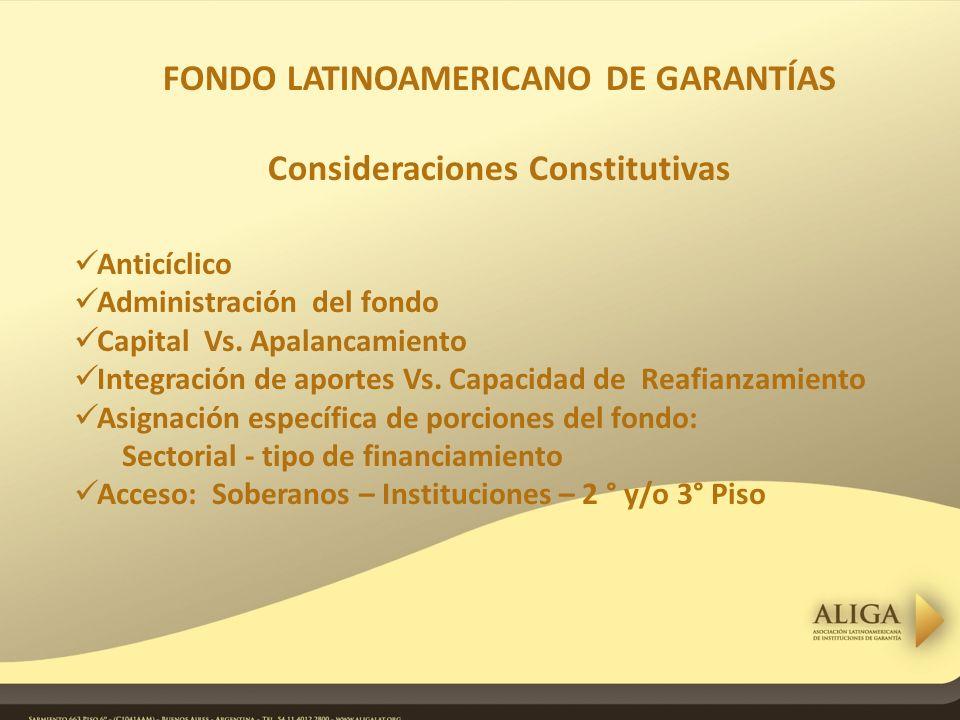 FONDO LATINOAMERICANO DE GARANTÍAS Consideraciones Constitutivas Anticíclico Administración del fondo Capital Vs.