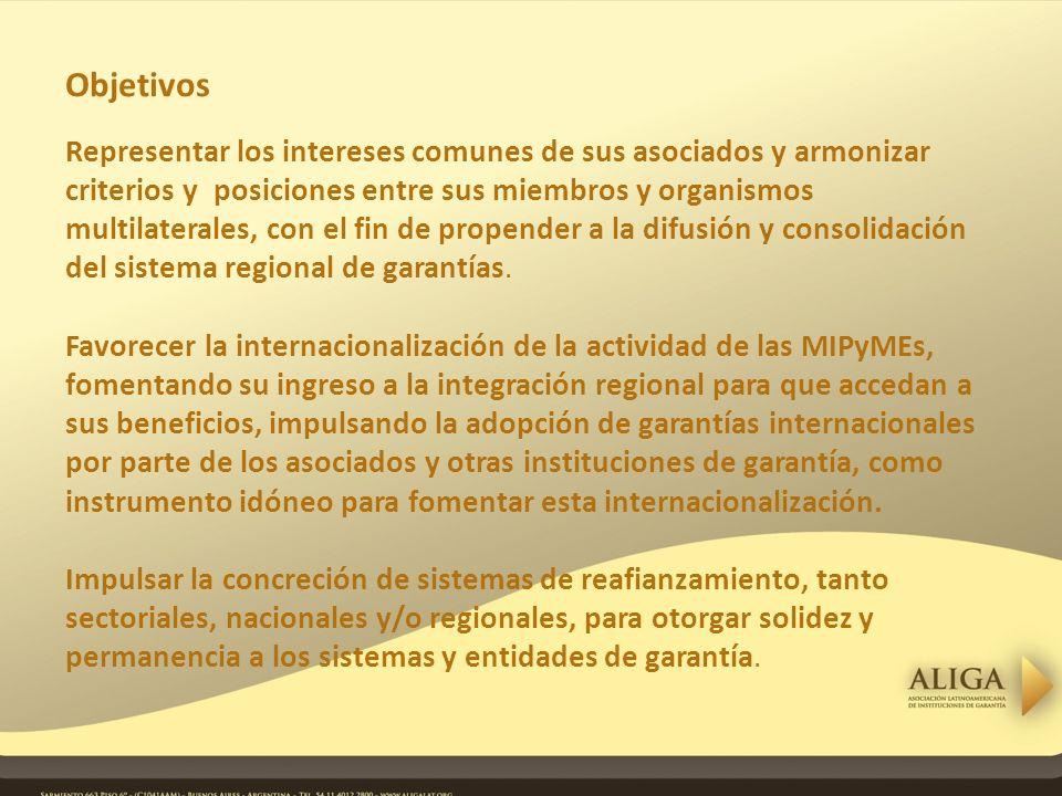 Objetivos Representar los intereses comunes de sus asociados y armonizar criterios y posiciones entre sus miembros y organismos multilaterales, con el fin de propender a la difusión y consolidación del sistema regional de garantías.