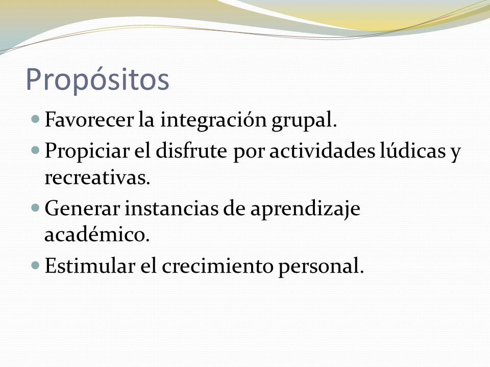 Propósitos Favorecer la integración grupal.