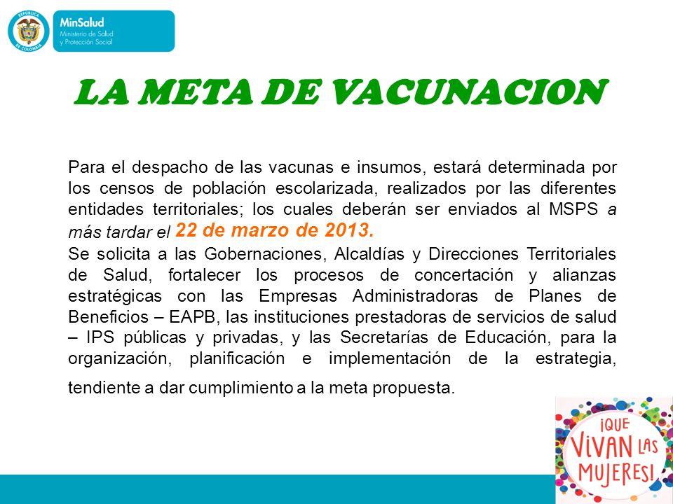 Para el despacho de las vacunas e insumos, estará determinada por los censos de población escolarizada, realizados por las diferentes entidades territoriales; los cuales deberán ser enviados al MSPS a más tardar el 22 de marzo de 2013.