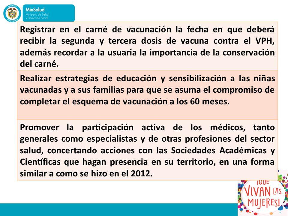 Registrar en el carné de vacunación la fecha en que deberá recibir la segunda y tercera dosis de vacuna contra el VPH, además recordar a la usuaria la importancia de la conservación del carné.