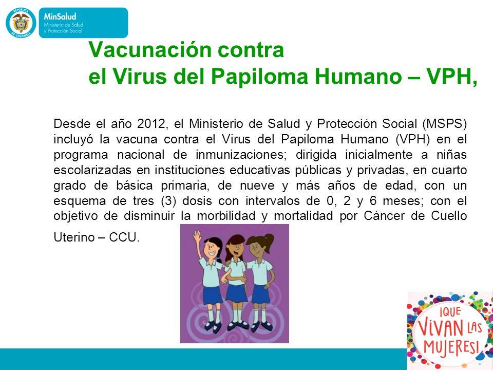 Desde el año 2012, el Ministerio de Salud y Protección Social (MSPS) incluyó la vacuna contra el Virus del Papiloma Humano (VPH) en el programa nacional de inmunizaciones; dirigida inicialmente a niñas escolarizadas en instituciones educativas públicas y privadas, en cuarto grado de básica primaria, de nueve y más años de edad, con un esquema de tres (3) dosis con intervalos de 0, 2 y 6 meses; con el objetivo de disminuir la morbilidad y mortalidad por Cáncer de Cuello Uterino – CCU.