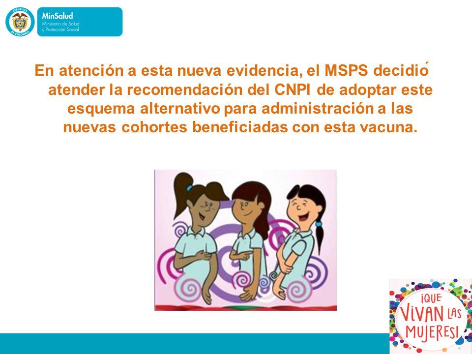 En atención a esta nueva evidencia, el MSPS decidió atender la recomendación del CNPI de adoptar este esquema alternativo para administración a las nuevas cohortes beneficiadas con esta vacuna.