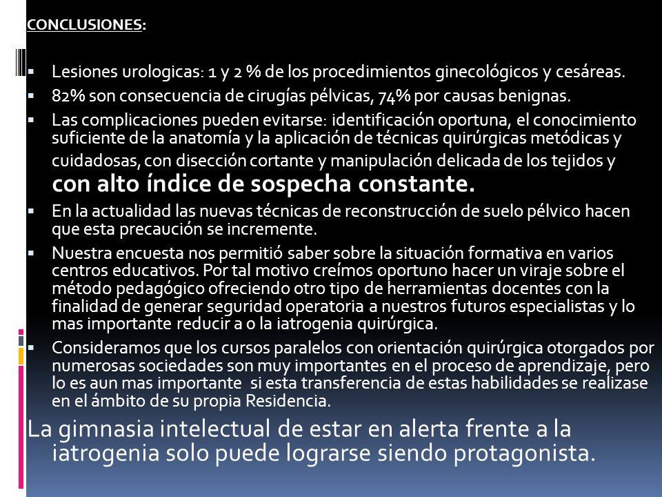 CONCLUSIONES: Lesiones urologicas: 1 y 2 % de los procedimientos ginecológicos y cesáreas. 82% son consecuencia de cirugías pélvicas, 74% por causas b