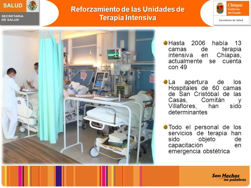 Reforzamiento de las Unidades de Terapia Intensiva Hasta 2006 había 13 camas de terapia intensiva en Chiapas, actualmente se cuenta con 49 La apertura