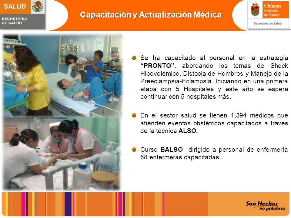 Capacitación y Actualización Médica Se ha capacitado al personal en la estrategia PRONTO, abordando los temas de Shock Hipovolémico, Distocia de Hombr