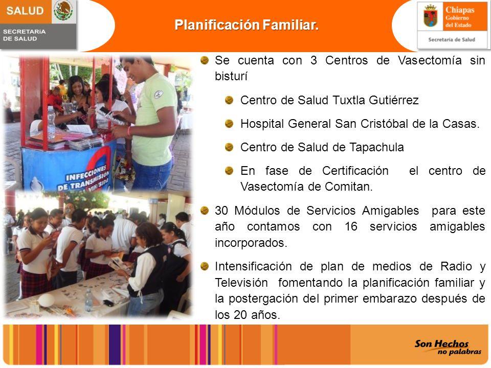 Planificación Familiar. Se cuenta con 3 Centros de Vasectomía sin bisturí Centro de Salud Tuxtla Gutiérrez Hospital General San Cristóbal de la Casas.