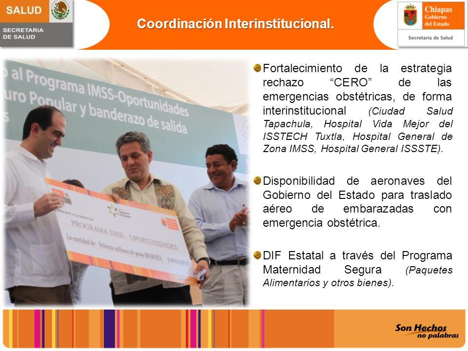 Fortalecimiento de la estrategia rechazo CERO de las emergencias obstétricas, de forma interinstitucional (Ciudad Salud Tapachula, Hospital Vida Mejor