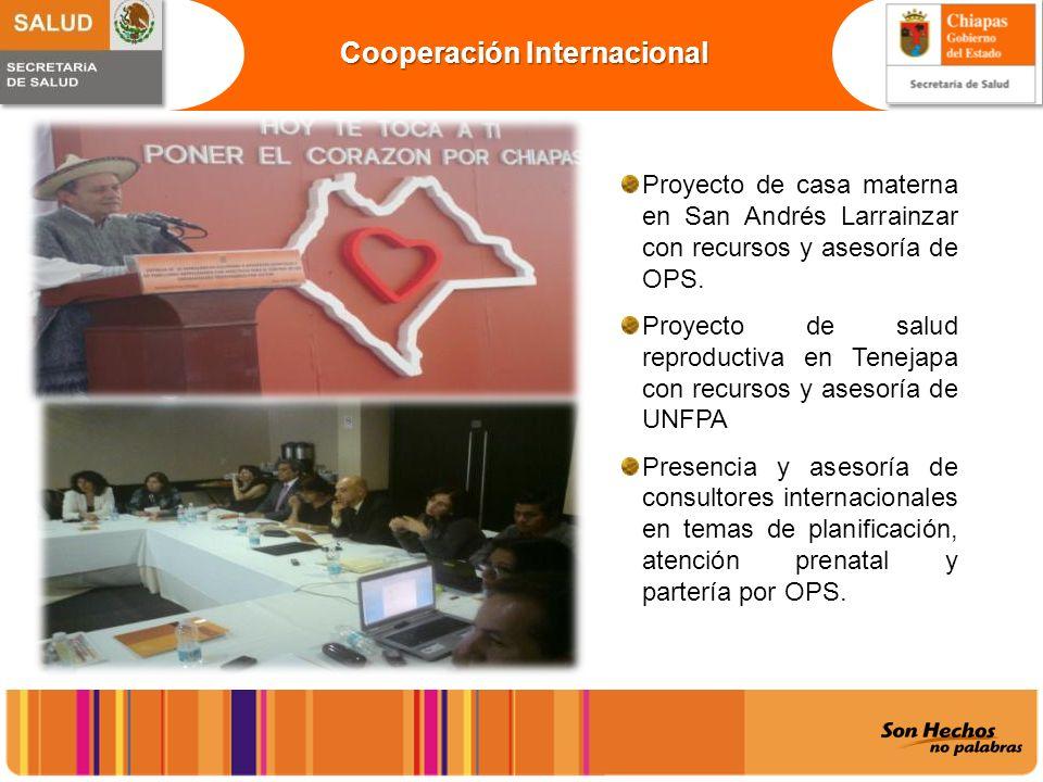 Cooperación Internacional Proyecto de casa materna en San Andrés Larrainzar con recursos y asesoría de OPS. Proyecto de salud reproductiva en Tenejapa