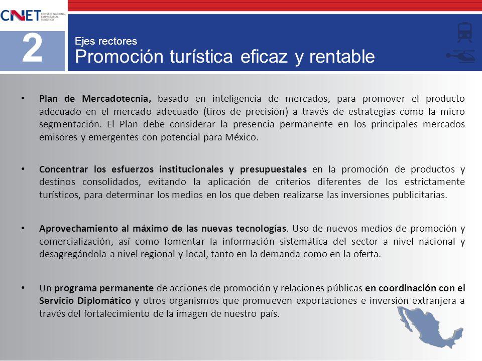 Promoción turística eficaz y rentable 2 Ejes rectores Plan de Mercadotecnia, basado en inteligencia de mercados, para promover el producto adecuado en