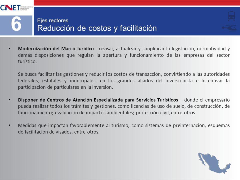 Reducción de costos y facilitación Ejes rectores 6 Modernización del Marco Jurídico - revisar, actualizar y simplificar la legislación, normatividad y