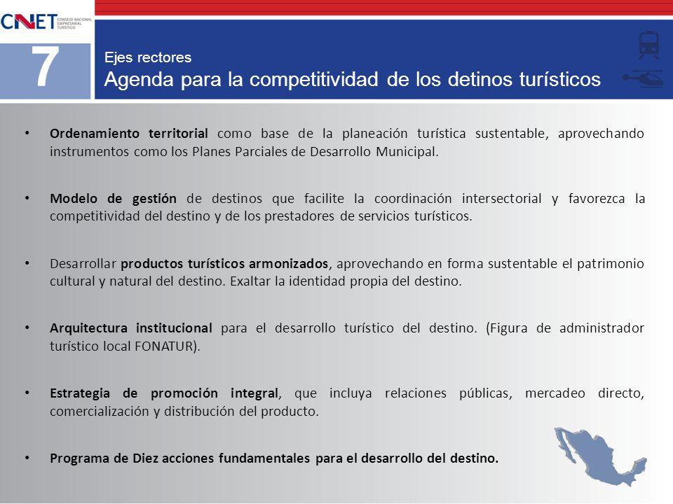 Agenda para la competitividad de los detinos turísticos Ejes rectores 7 Ordenamiento territorial como base de la planeación turística sustentable, apr