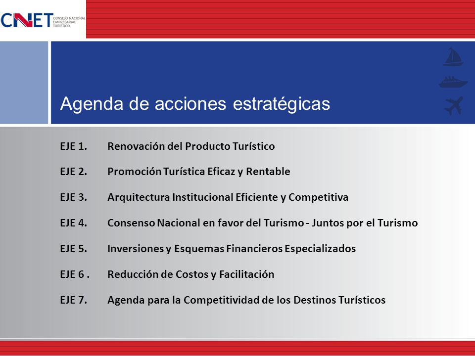 Agenda de acciones estratégicas EJE 1. Renovación del Producto Turístico EJE 2. Promoción Turística Eficaz y Rentable EJE 3. Arquitectura Instituciona
