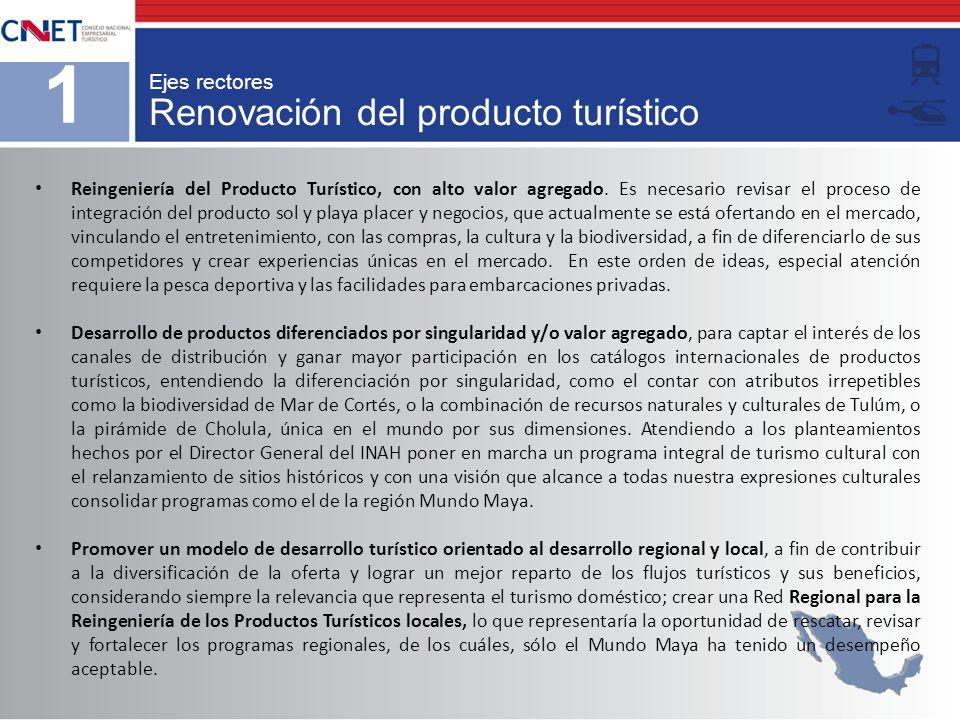 Renovación del producto turístico 1 Ejes rectores Reingeniería del Producto Turístico, con alto valor agregado. Es necesario revisar el proceso de int