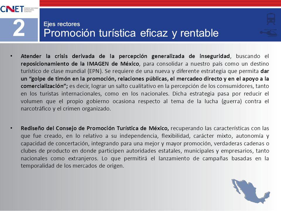 Promoción turística eficaz y rentable 2 Ejes rectores Atender la crisis derivada de la percepción generalizada de inseguridad, buscando el reposiciona