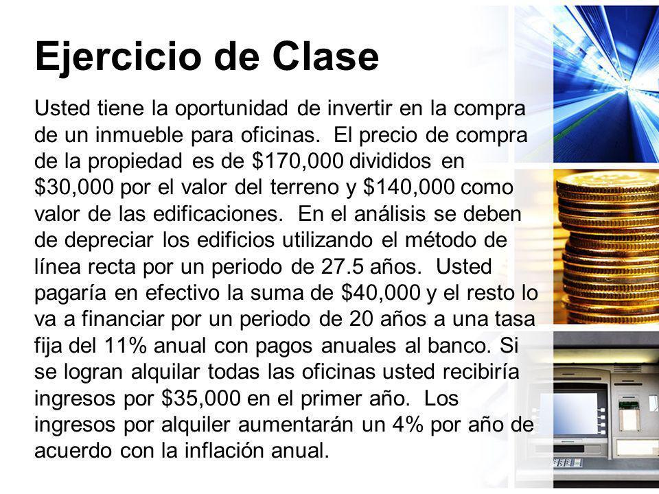 Ejercicio de Clase Usted tiene la oportunidad de invertir en la compra de un inmueble para oficinas. El precio de compra de la propiedad es de $170,00