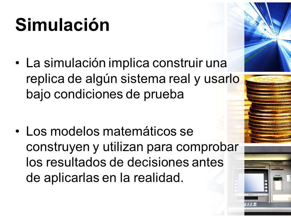 Simulación La simulación implica construir una replica de algún sistema real y usarlo bajo condiciones de prueba Los modelos matemáticos se construyen