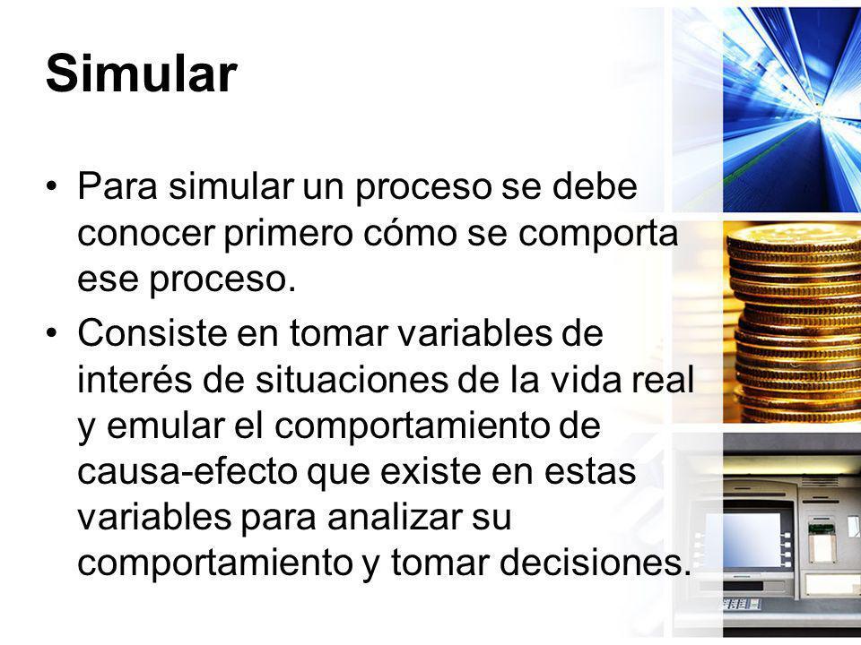 Simular Para simular un proceso se debe conocer primero cómo se comporta ese proceso. Consiste en tomar variables de interés de situaciones de la vida