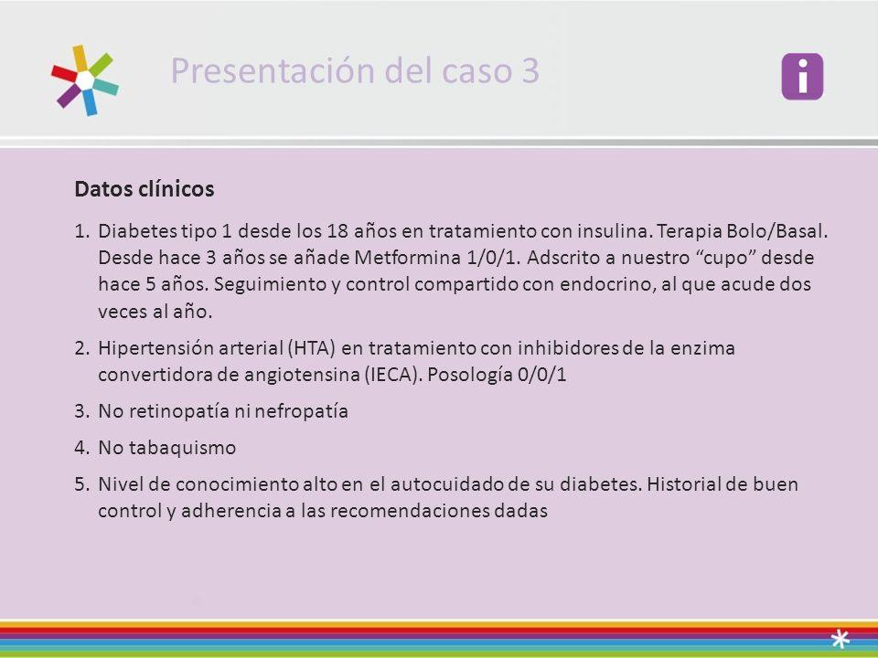 Presentación del caso 3 Datos clínicos 1.Diabetes tipo 1 desde los 18 años en tratamiento con insulina.