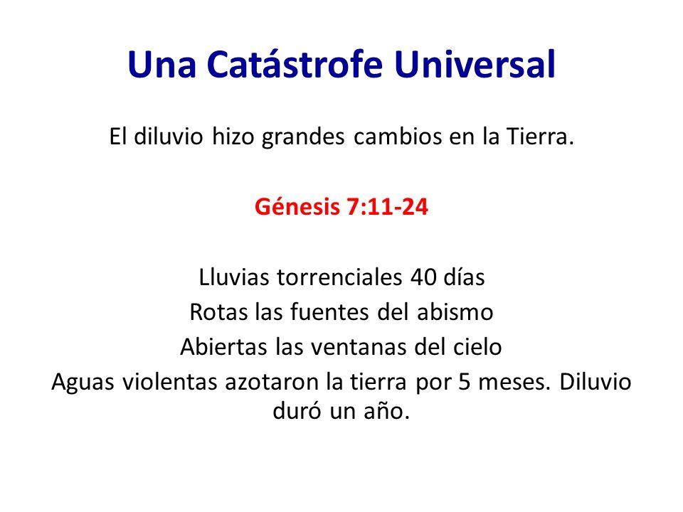 Una Catástrofe Universal El diluvio hizo grandes cambios en la Tierra. Génesis 7:11-24 Lluvias torrenciales 40 días Rotas las fuentes del abismo Abier