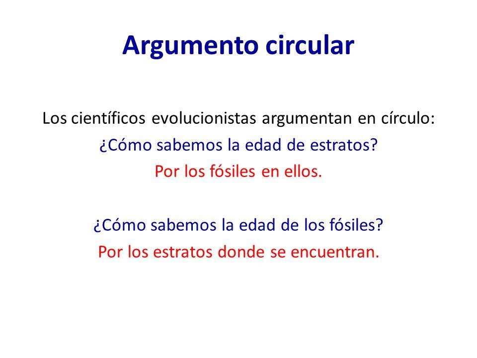 Argumento circular Los científicos evolucionistas argumentan en círculo: ¿Cómo sabemos la edad de estratos? Por los fósiles en ellos. ¿Cómo sabemos la