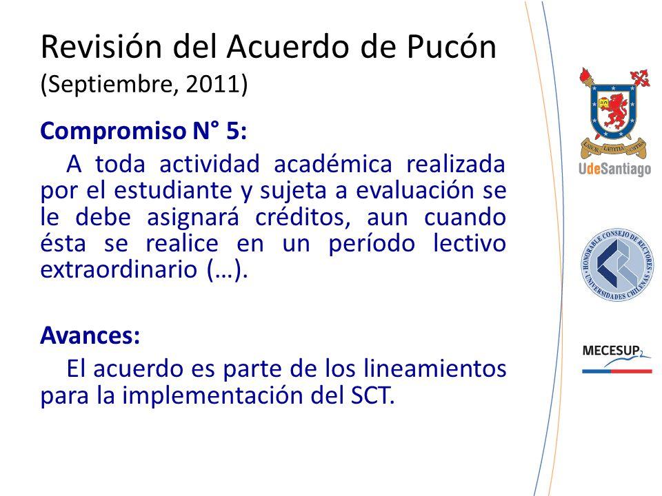 Revisión del Acuerdo de Pucón (Septiembre, 2011) Compromiso N° 5: A toda actividad académica realizada por el estudiante y sujeta a evaluación se le d