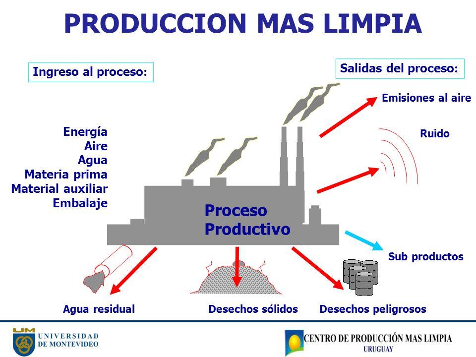 Proceso Productivo Sub productos Ingreso al proceso : Energía Aire Agua Materia prima Material auxiliar Embalaje Agua residual Desechos sólidos Desech