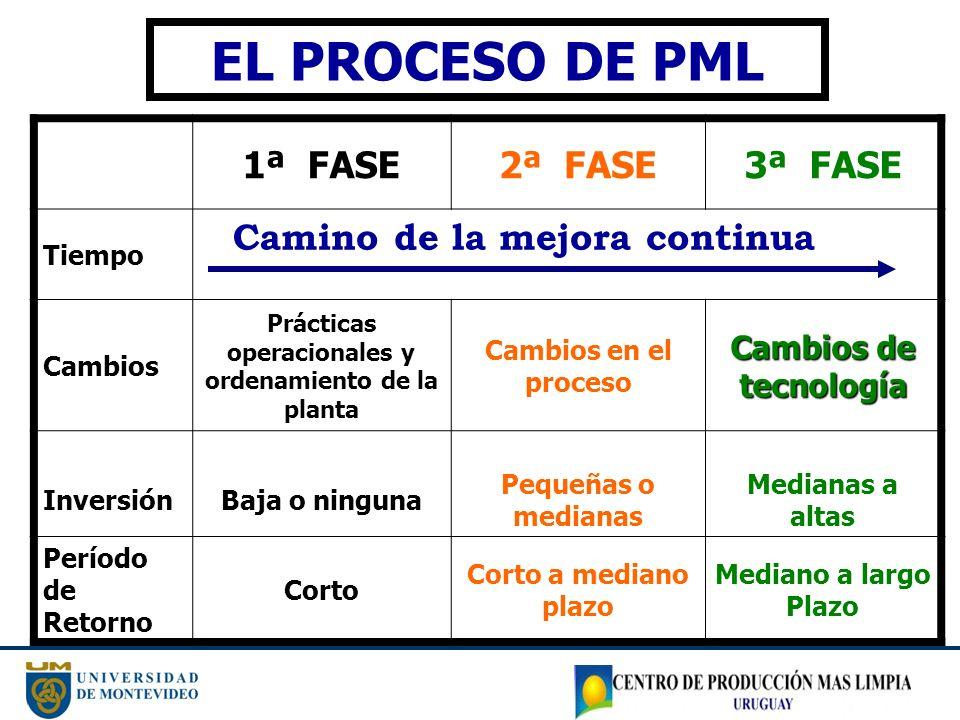 1ª FASE2ª FASE3ª FASE Tiempo Cambios Prácticas operacionales y ordenamiento de la planta Cambios en el proceso Cambios de tecnología InversiónBaja o n