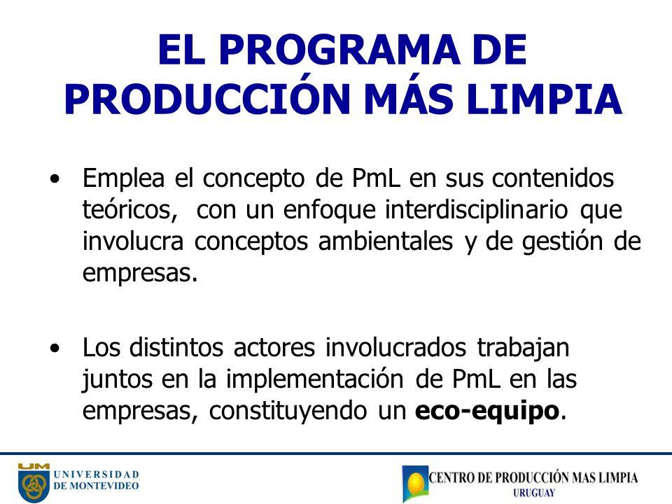 EL PROGRAMA DE PRODUCCIÓN MÁS LIMPIA Emplea el concepto de PmL en sus contenidos teóricos, con un enfoque interdisciplinario que involucra conceptos a