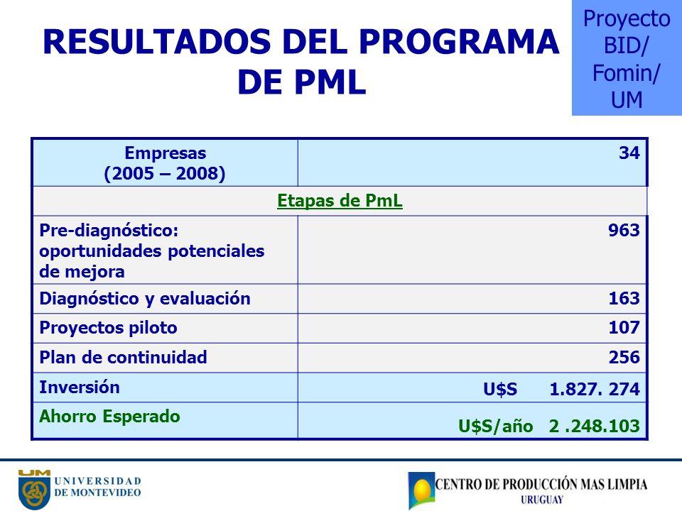RESULTADOS DEL PROGRAMA DE PML Empresas (2005 – 2008) 34 Etapas de PmL Pre-diagnóstico: oportunidades potenciales de mejora 963 Diagnóstico y evaluaci