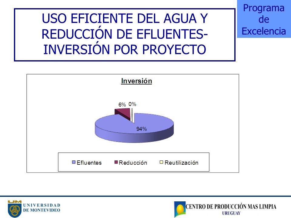 USO EFICIENTE DEL AGUA Y REDUCCIÓN DE EFLUENTES- INVERSIÓN POR PROYECTO Programa de Excelencia