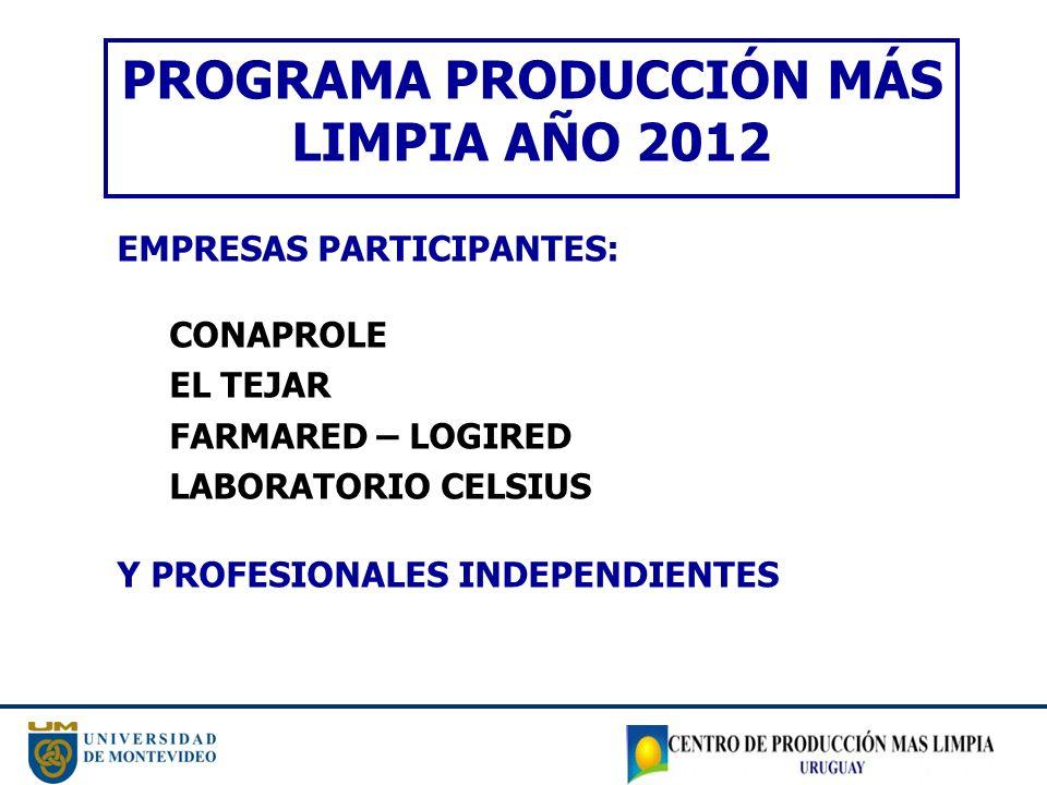 PROGRAMA PRODUCCIÓN MÁS LIMPIA AÑO 2012 EMPRESAS PARTICIPANTES: CONAPROLE EL TEJAR FARMARED – LOGIRED LABORATORIO CELSIUS Y PROFESIONALES INDEPENDIENT
