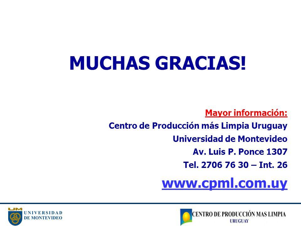MUCHAS GRACIAS! Mayor información: Centro de Producción más Limpia Uruguay Universidad de Montevideo Av. Luis P. Ponce 1307 Tel. 2706 76 30 – Int. 26
