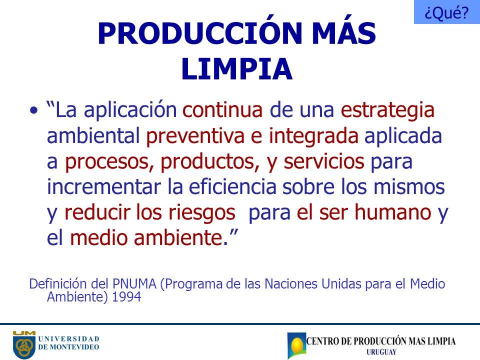 PRODUCCIÓN MÁS LIMPIA La aplicación continua de una estrategia ambiental preventiva e integrada aplicada a procesos, productos, y servicios para incre