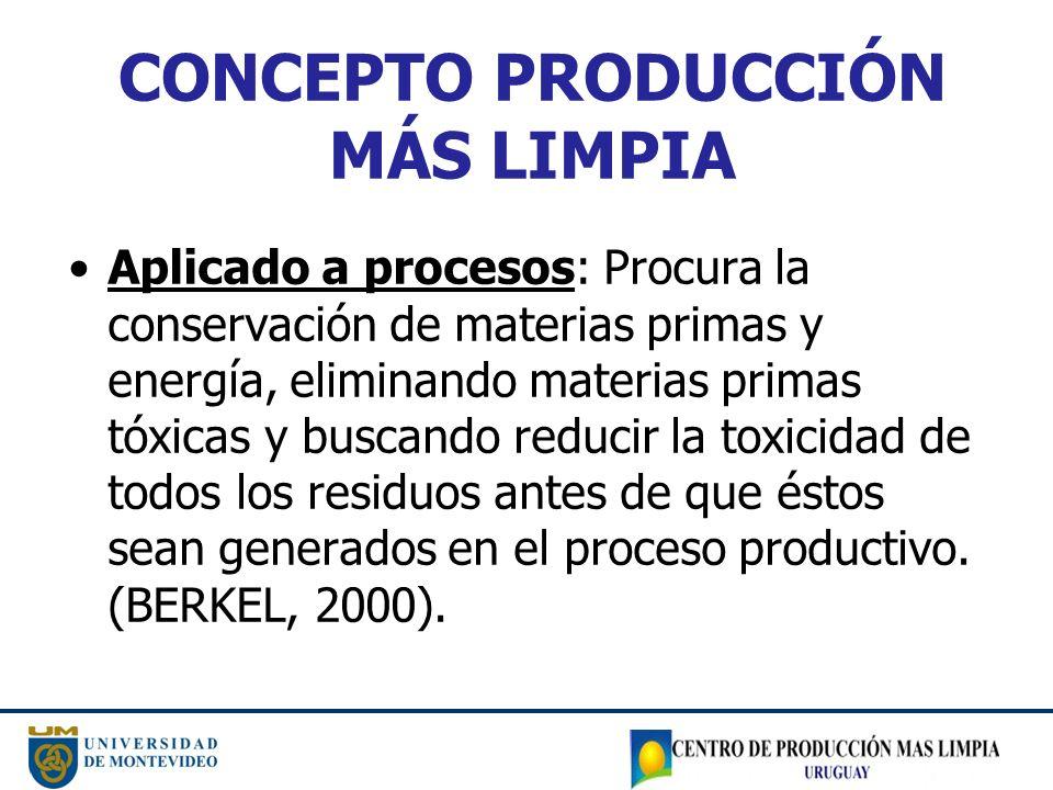 CONCEPTO PRODUCCIÓN MÁS LIMPIA Aplicado a procesos: Procura la conservación de materias primas y energía, eliminando materias primas tóxicas y buscand