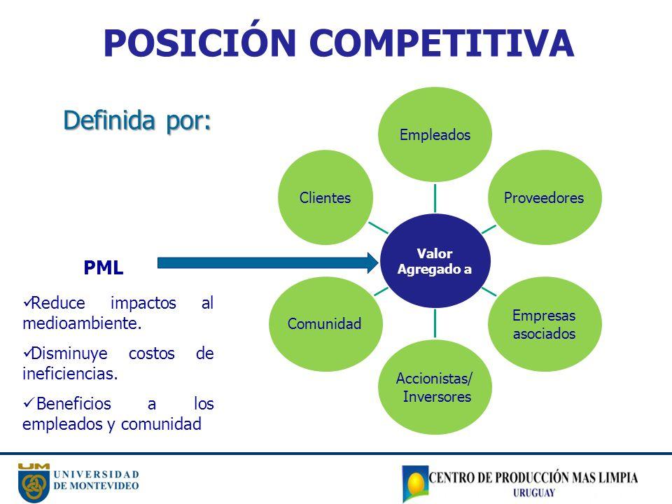 POSICIÓN COMPETITIVA Definida por: Valor Agregado a Empleados Proveedores Empresas asociados Accionistas/ Inversores ComunidadClientes PML Reduce impactos al medioambiente.