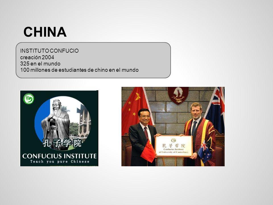 CHINA INSTITUTO CONFUCIO creación 2004 325 en el mundo 100 millones de estudiantes de chino en el mundo