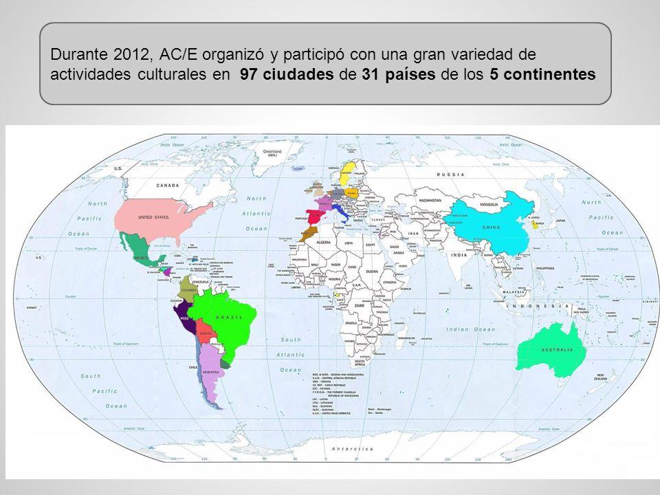 Durante 2012, AC/E organizó y participó con una gran variedad de actividades culturales en 97 ciudades de 31 países de los 5 continentes