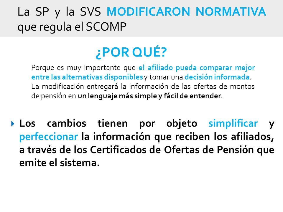 La SP y la SVS MODIFICARON NORMATIVA que regula el SCOMP Los cambios tienen por objeto simplificar y perfeccionar la información que reciben los afiliados, a través de los Certificados de Ofertas de Pensión que emite el sistema.